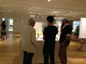 Curator Harvey Choldin talking with Ramonat Scholars Andrew Kelly and Hector Bahena