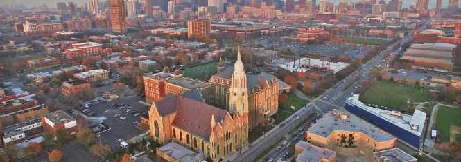 Fantastic shot of the Holy Family Parish neighborhood today from the St Ignatius College Prep website.