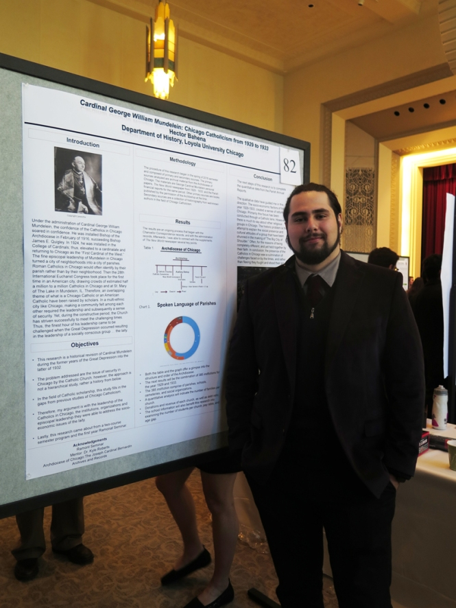 "Ramonat Scholar Hector Bahena shares his poster ""Cardinal George William Mundelein: Chicago Catholicism from 1929 to 1933."""