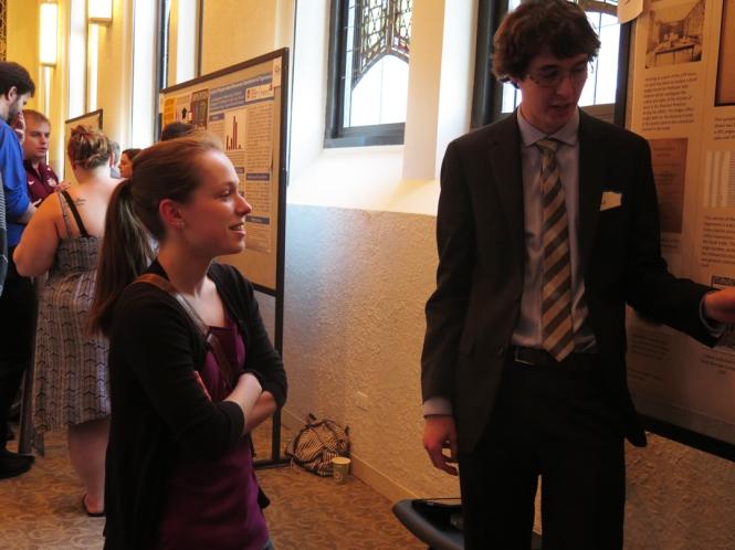 Ramonat Scholar Bianca Barcenas listens to fellow scholar Dan Snow's presentation.